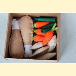 """Žaislinio maisto rinkinys """"Vištiena su daržovėmis"""""""
