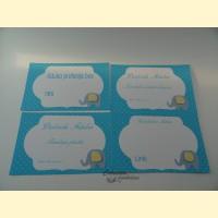 """Palinkėjimų-pažadų kortelės """"Mėlynasis drambliukas"""""""
